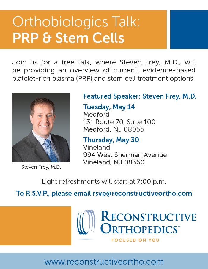 Free Talk Thursday May 14th In >> Orthobiologics Talk Prp Stem Cells Reconstructive Orthopedics